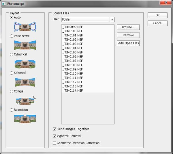 Photoshop photomerge panel