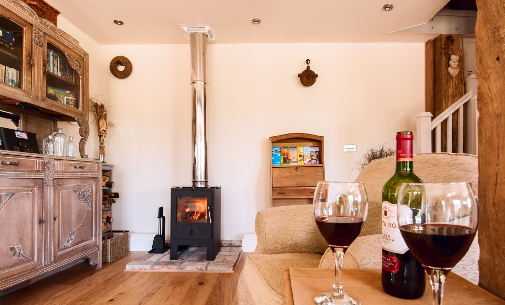 lounge with wine and fire