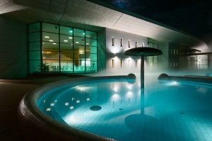 health spa pool at night