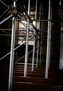 scaffolding and church pews