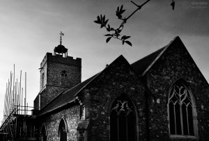 St Marys Wivenhoe exterior black and white