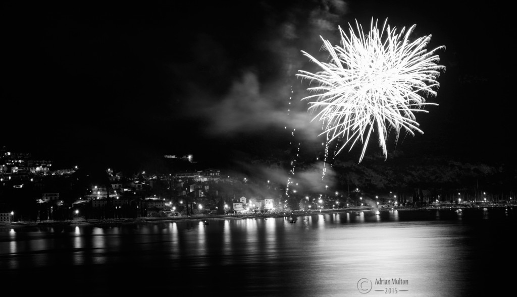 fireworks over Lake Garda - black and white