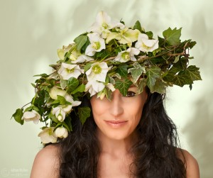floral headdress on nude model
