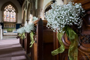 wedding flowers in church