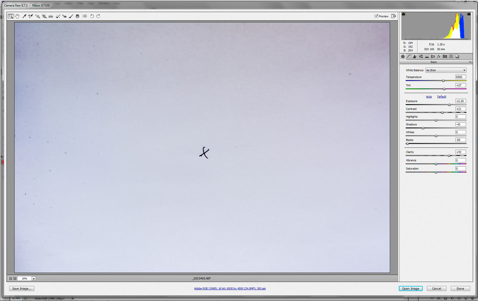 image of paper being opened in Photoshop to check for dirty sensor