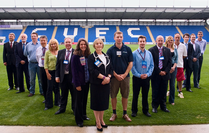 networking group at Colchester United stadium